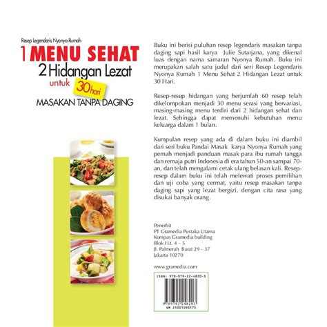 Harga Buku Novel Tanpa jual buku 1 menu sehat 2 hidangan lezat untuk 30 hari