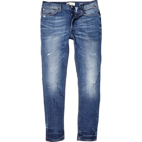 Light Wash Ripped by River Island Light Wash Ripped Sid Stretch In Blue For Lyst