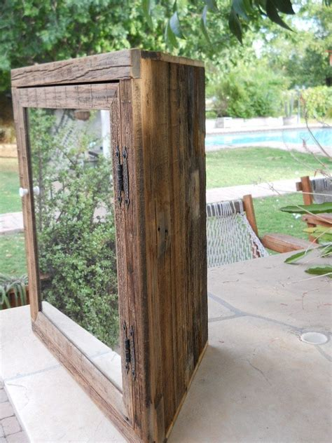 hand made wooden corner medicine cabinet with mirror by