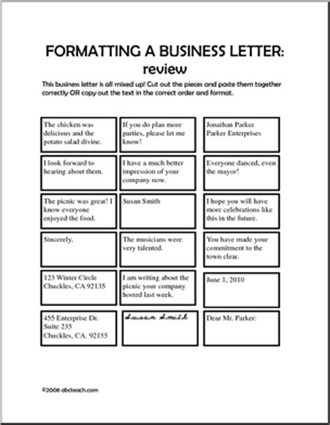 business letter writing worksheets worksheet formatting a business letter elem middle
