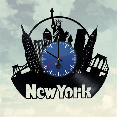 Handmade New York - new york city handmade vinyl record wall clock fan gift