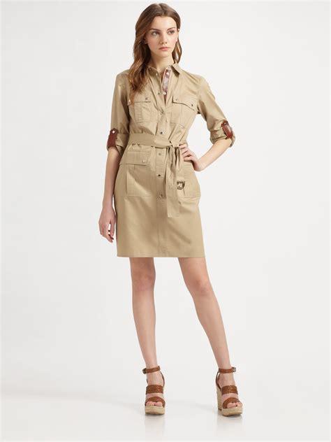 lyst michael michael kors safari shirt dress  natural