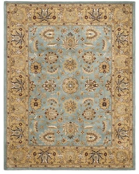 traditional rug handmade heritage mahal blue gold wool rug traditional
