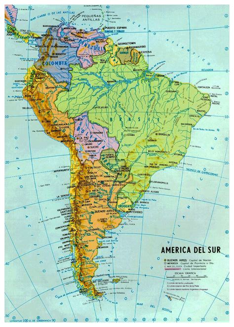 map of south america with cities large political and hydrographic map of south america with