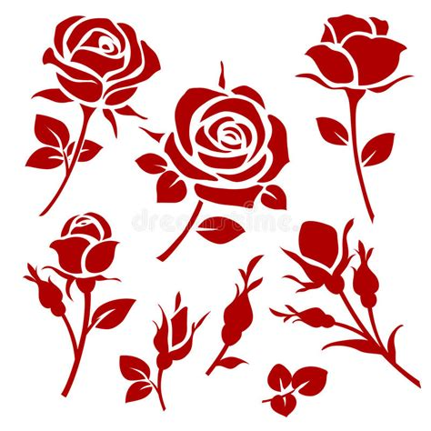 roses rose buds and ornate decorative vector and bud silhouettes floral