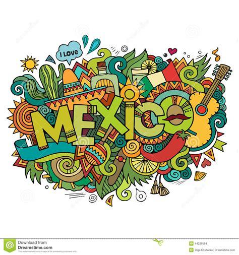 doodle de hoy 15 de septiembre mexico lettering and doodles elements stock vector