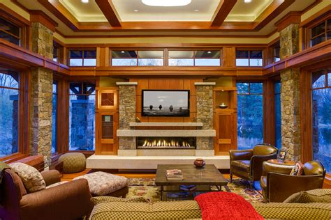 Arts And Crafts Style Living Room by Linear Gas Fireplace Living Room Craftsman With Arts And