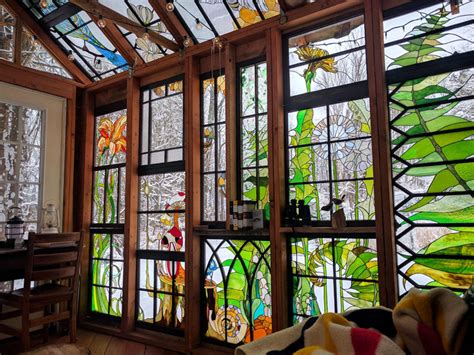 stained glass forest cabin  neile cooper homeli