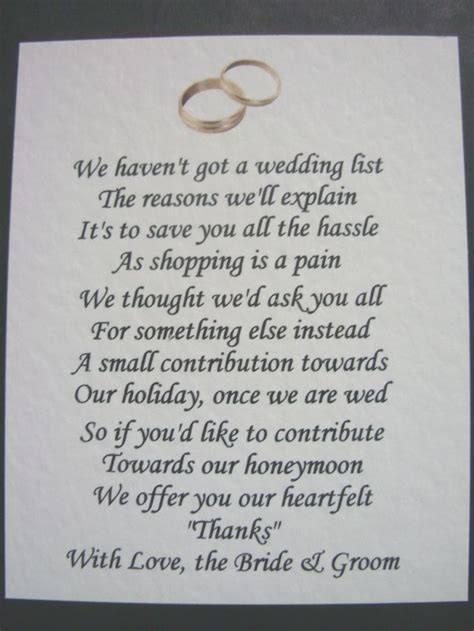Wedding Poems by 40 Wedding Poems Asking For Money Gifts Not Presents Ref