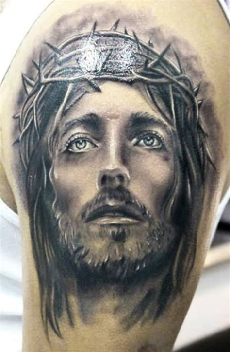 tattoo design jesus face black and grey jesus face with thorn crown tattoo on