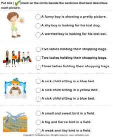 Kindergarten Description by Sentences To Describe Pictures Worksheet Turtle Diary