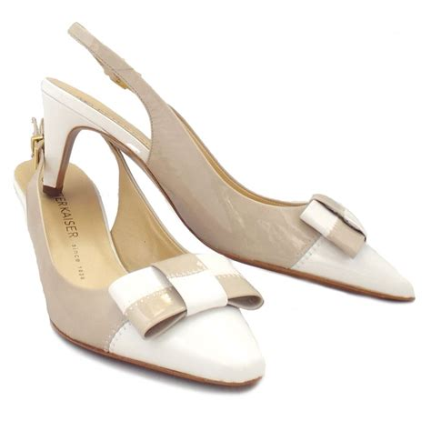 slingback high heels kaiser mea slingback white patent heels