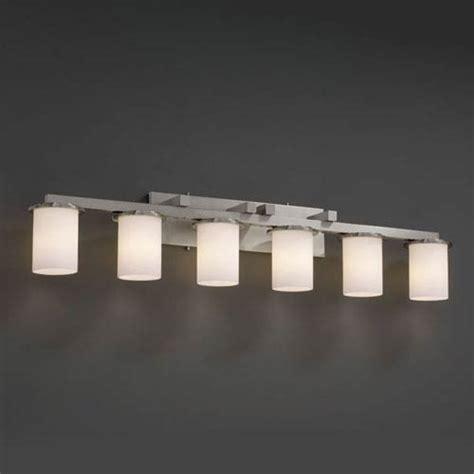 6 light bathroom fixture justice design group fusion dakota six light brushed