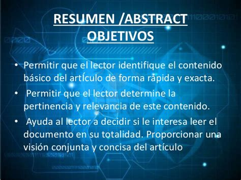 Resumen O Abstract De Tesis by Pautas Para Elaborar Resumen Abstract En Trabajos De