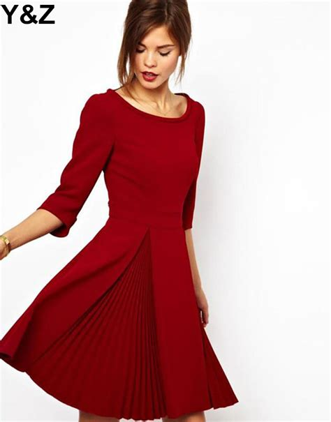 Dress Blackred 16083 y z black dresses a line draped work business casual dress high quality in
