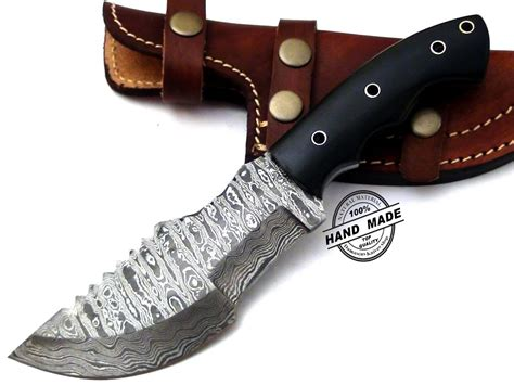 Best Handmade Knives - regular damascus tracker knife custom handmade damascus steel
