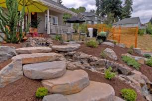 Railroad Bedroom Gravel Courtyad Water Fall Slab Stone Steps Privacy