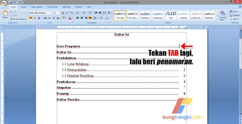 membuat titik daftar isi dengan tab cara membuat daftar isi titik titik otomatis di microsoft word