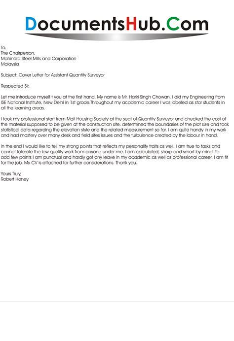 cover letter for resume quantity surveyor cover letter for assistant quantity surveyor