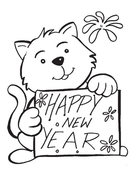 new year picture to colour free coloring pages of new year card