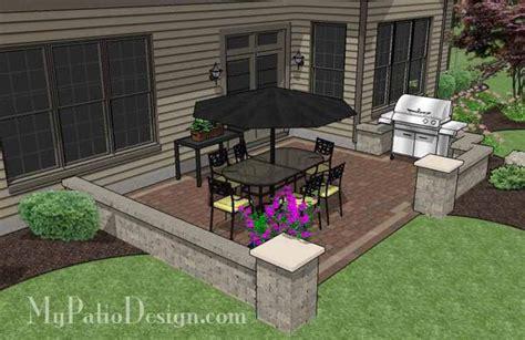 Patio Designs Rectangular Diy Rectangular Patio Design With Seat Walls