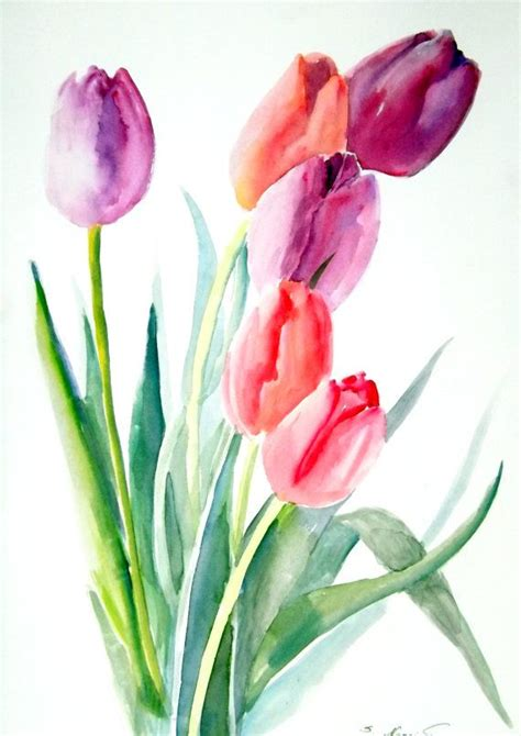 watercolour flower portraits 1782210822 tulips original watercolor painting 12 x 9 by originalonly on etsy aquarelle