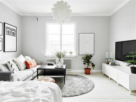 Charmant Meubler Un Petit Appartement #5: salon-chic-tapis-gris-canape-gris-sol-en-planchers-en-bois-déco-studio-étudiant-murs-gris-pale.jpg