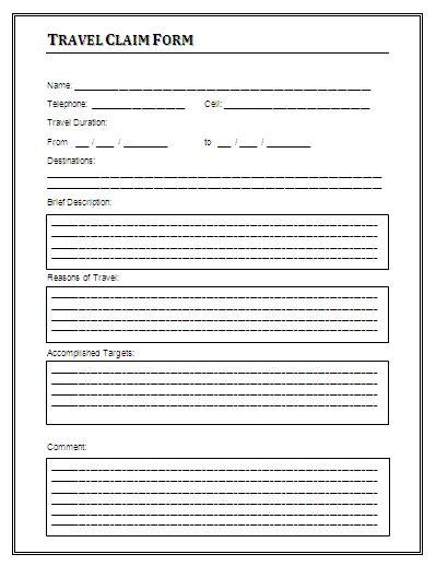 claim form claim form word