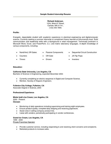 resume exles for college students internships college student resume template for internship resume ideas