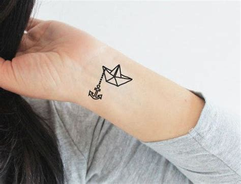 origami boat tattoo 4 paper boat and anchor temporary tattoos by