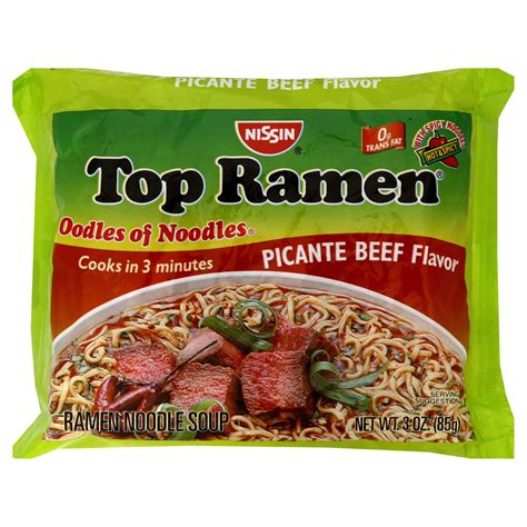 Top Ramen nissin top ramen ramen noodle soup beef flavor family pack 12 3 oz 85 g packages 36 oz