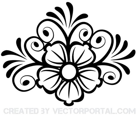 flower ornament vector art 123freevectors