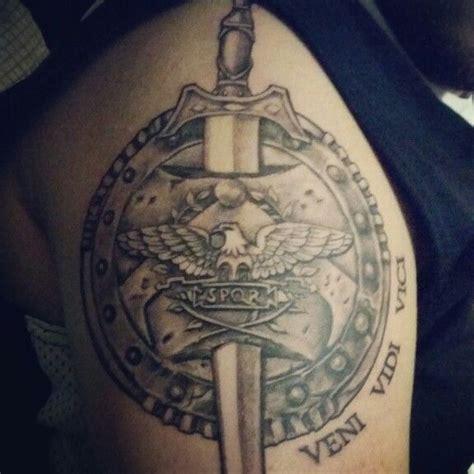 spqr tattoo designs my gladiator shield and sword i added the