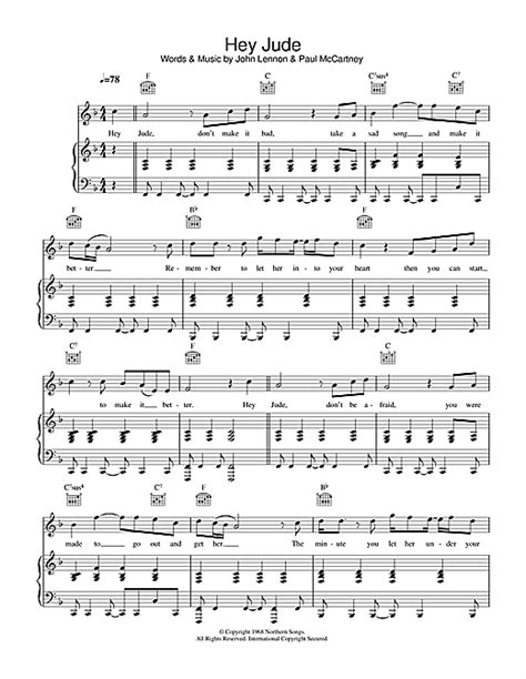 tutorial piano hey jude hey jude sheet music by the beatles piano vocal guitar