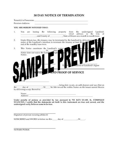 Lease Termination Letter Illinois Illinois 30 Day Termination Notice Forms And Business Templates Megadox