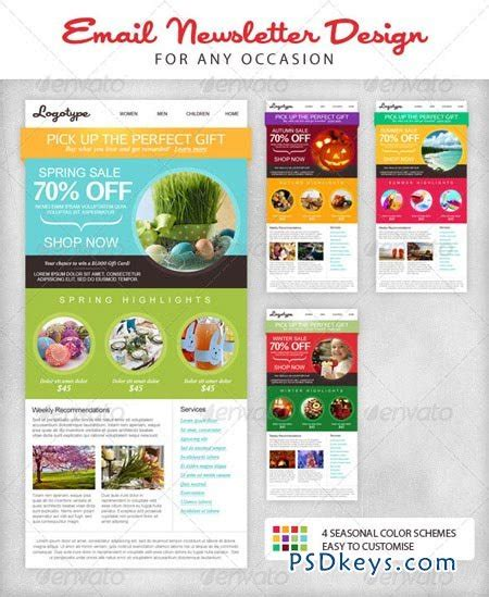 newsletter layout photoshop seasonal email newsletter template 2508648 187 free download