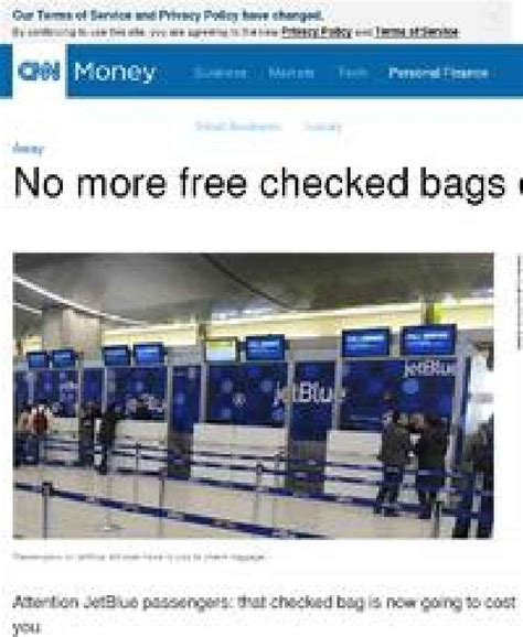 jetblue checked baggage no more free checked bags on jetblue one news page