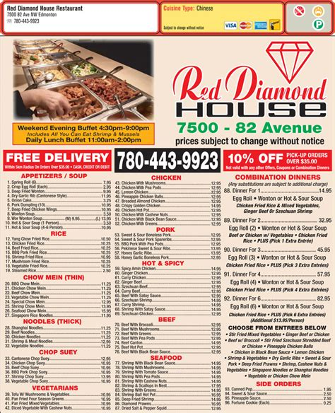 diamond house menu red diamond house restaurant edmonton ab 7500 82 ave nw canpages