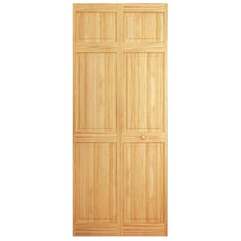 Wood Closet Doors Bay 30 In X 84 In 6 Panel Solid Wood Pine Interior Closet Bi Fold Door
