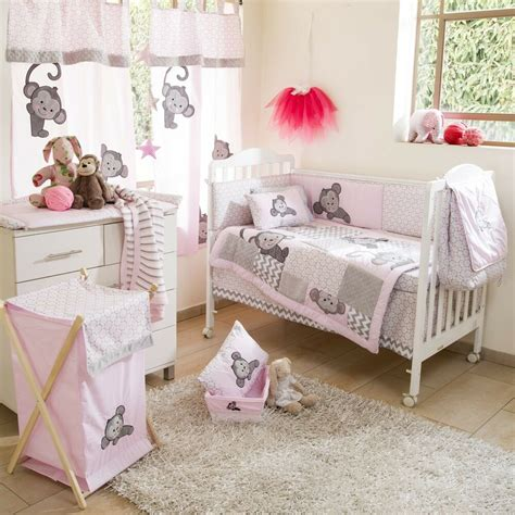 nursery cot bedding sets brand new 4 pink monkey crib bedding cot set ebay