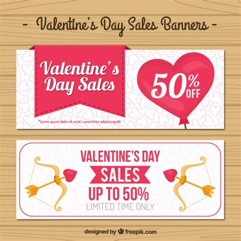 valentines sales day sales banners vector free