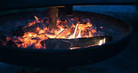 burning pit of pit with burning wood 183 free stock photo