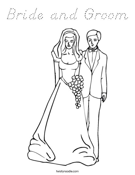 bride and groom coloring page d nealian twisty noodle