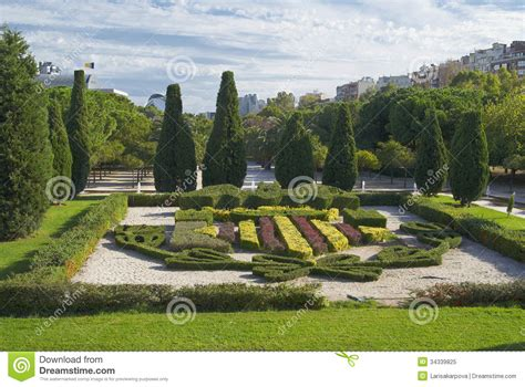 famous flower beds in the park in valencia spain royalty