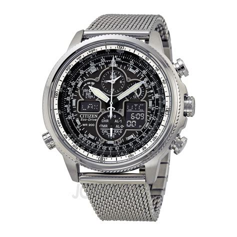Citizen Navihawk UTC Chronograph Black Dial Stainless Steel Mesh Men's Watch JY8030 83E   Eco