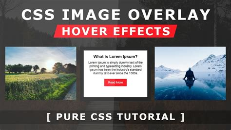 css tutorial on youtube css image overlay hover effects pure css tutorial how