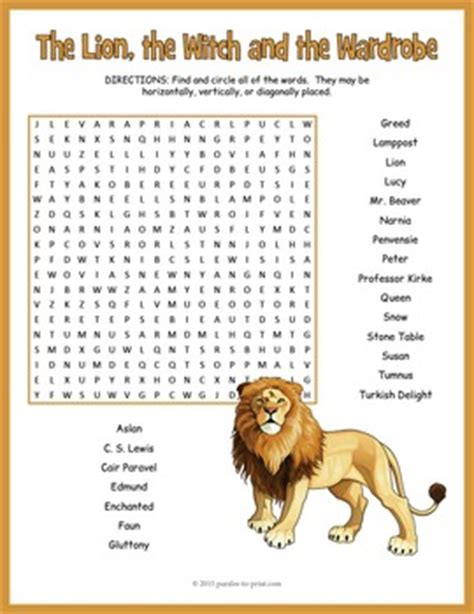 the the witch and the wardrobe word search puzzle