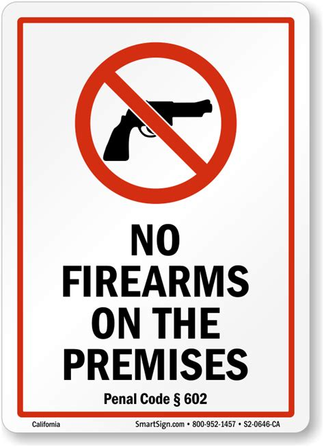 penal code section 602 california no guns law signs