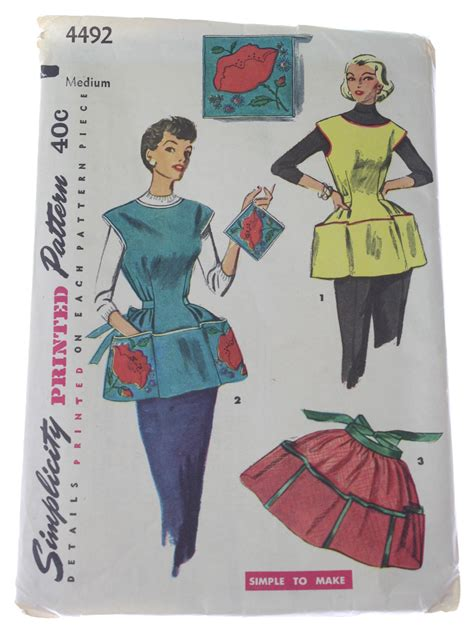 easy simplicity apron pattern vintage 50s sewing pattern 60s simplicity pattern no