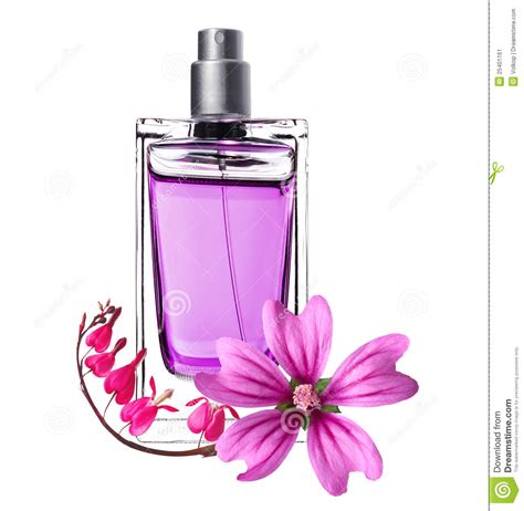 Parfum Implora Pink Ribbon perfume in beautiful bottle and pink flowers stock